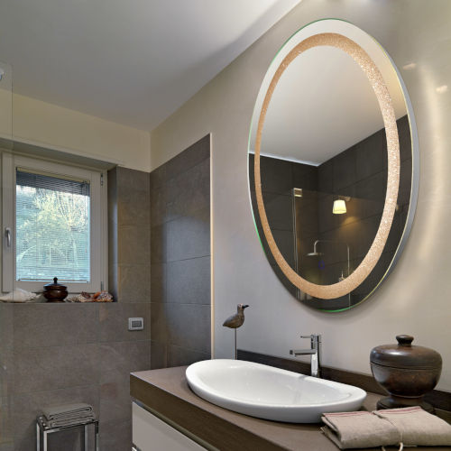Edison Crystal Oval Silver LED Bathroom Mirror