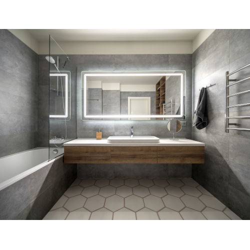 Egret Tri-Color Rectangular Silver LED Bathroom Mirror