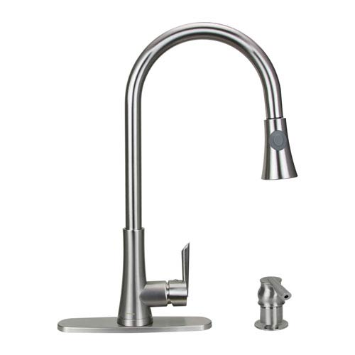 Dyconn Celtic Brushed Nickel Low Lead Single Handle Pull-Out Kitchen Faucet with Soap Dispenser
