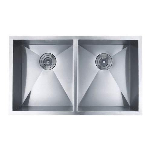 Boann Hand Made Stainless Steel Zero Radius 50/50 Double Bowl Undermount  Kitchen Sink