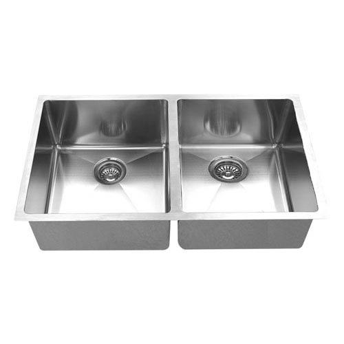 Boann Hand Made Stainless Steel 50/50 Double Bowl Undermount Kitchen Sink