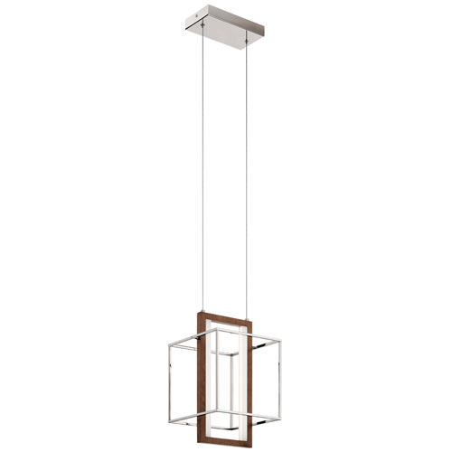 Viho Polished Nickel and Faux Wood 10-Inch LED Pendant