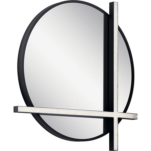 Kemena Matte Black 24-Inch LED Lighted Mirror