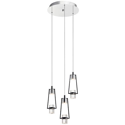 Ayse Chrome and Matte Black Three-Light LED Pendant