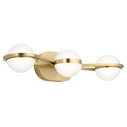 Brettin Champagne Gold 24-Inch Three-Light LED Bath Vanity