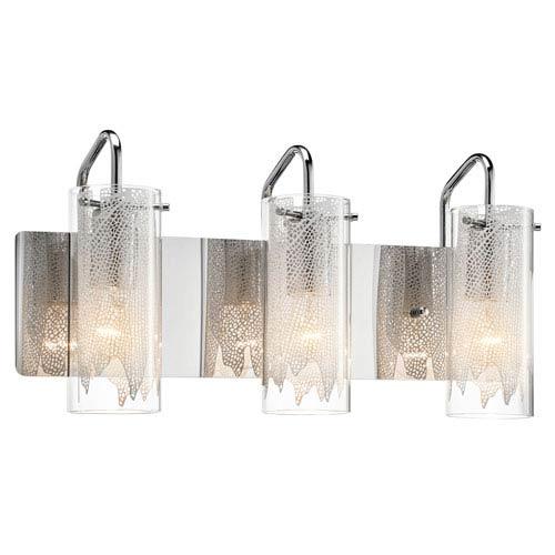 Elan Krysalis Chrome Three-Light Bath Vanity Fixture
