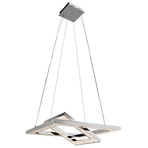 Elan Crushed Ice Chrome One-Light LED 2 Tier Pendant