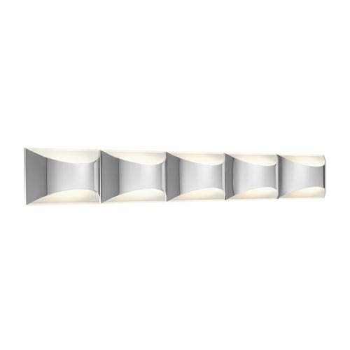 Adalynn Chrome and Matte White Five-Light LED Linear Bath Vanity Fixture