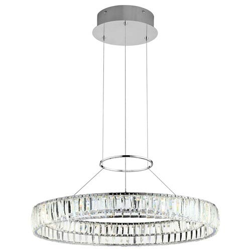 Annette Chrome One-Light LED Pendant with Clear Acrylic Etched Inside Shades