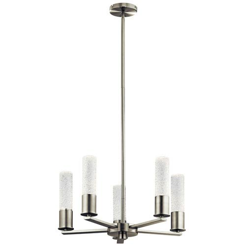 Glacial Glow Brushed Nickel 21-Inch LED Chandelier