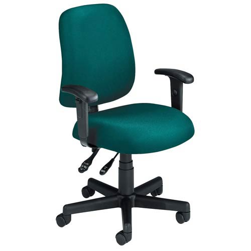 Teal Fabric Computer Posture Chair with Arms