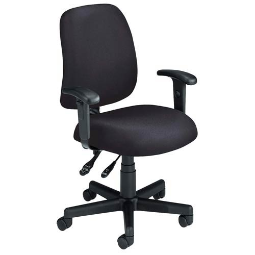 Black Fabric Computer Posture Chair with Arms