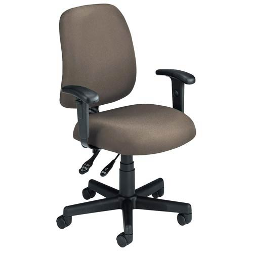 Taupe Fabric Computer Posture Chair with Arms