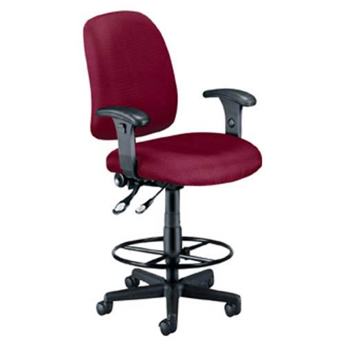 OFM Office Furniture Wine Fabric Computer Posture Chair with Arms and Drafting Kit