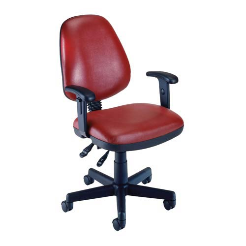 Wine Vinyl Computer Posture Chair with Arms