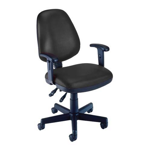 OFM Office Furniture Black Vinyl Computer Posture Chair with Arms