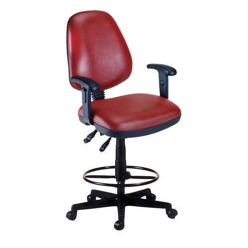 Wine Vinyl Computer Posture Chair with Arms and Drafting Kit