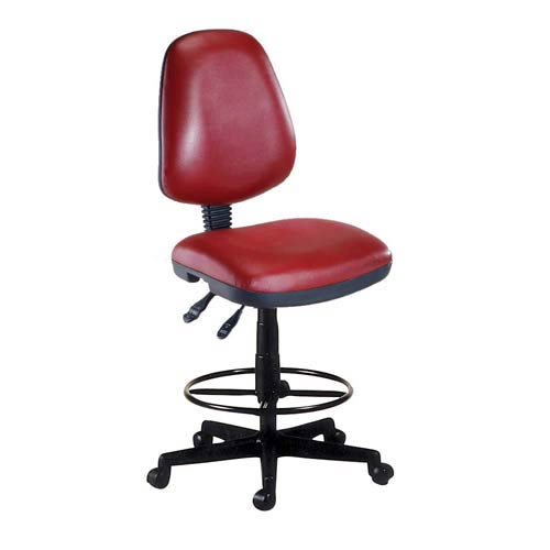 Wine Vinyl Computer Posture Chair with Drafting Kit
