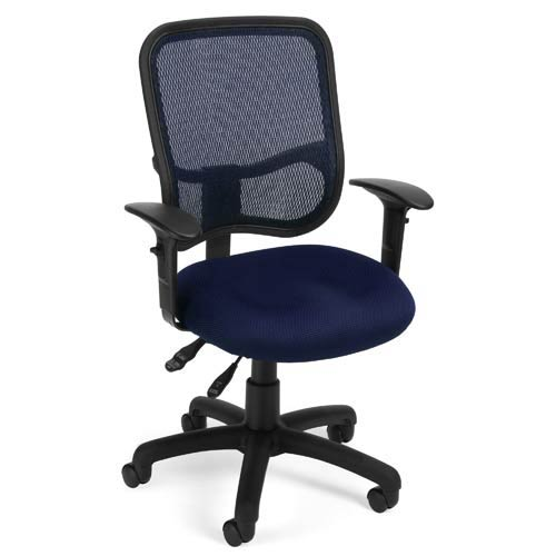 OFM Office Furniture Modern Mesh Navy Ergonomic Task Chair With Arms