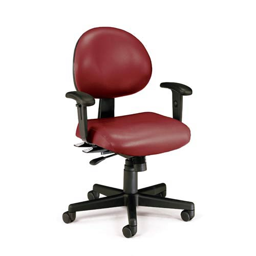 Wine Vinyl 24 Hour Task Chair with Arms