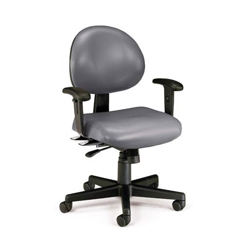 Charcoal Vinyl 24 Hour Task Chair with Arms