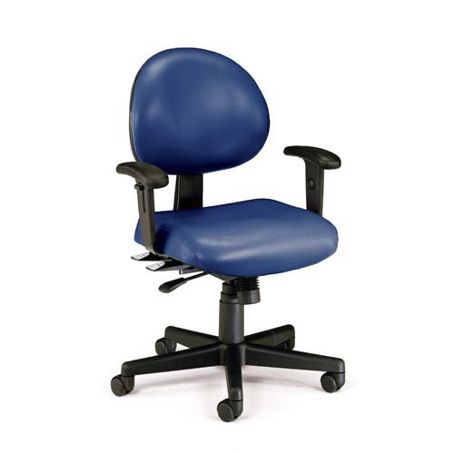 Navy Vinyl 24 Hour Task Chair with Arms