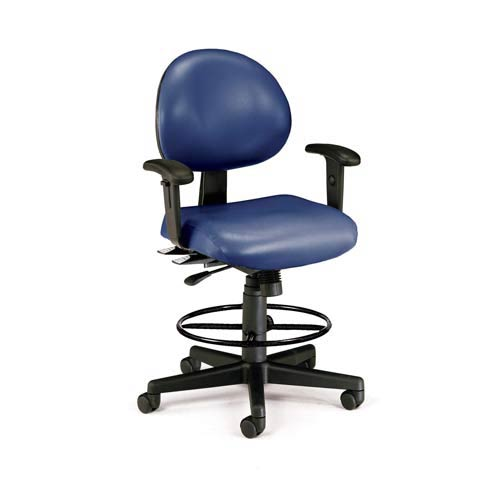 Navy Vinyl 24 Hour Task Chair with Arms and Drafting Kit