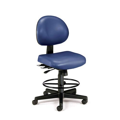 Navy Vinyl 24 Hour Task Chair with Drafting Kit