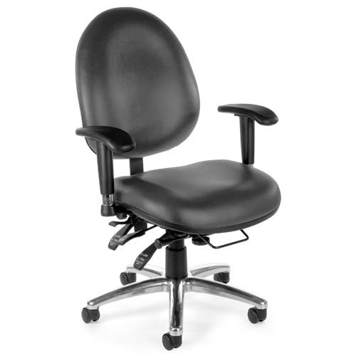 Vinyl 24 Hour Charcoal Computer Task Chair with High Back