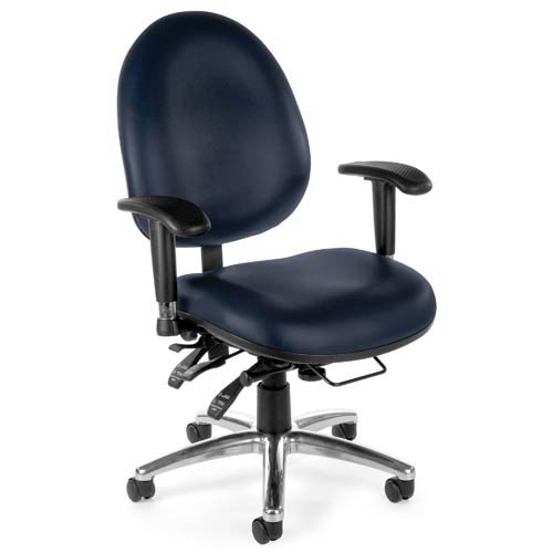 Vinyl 24 Hour Navy Computer Task Chair with High Back