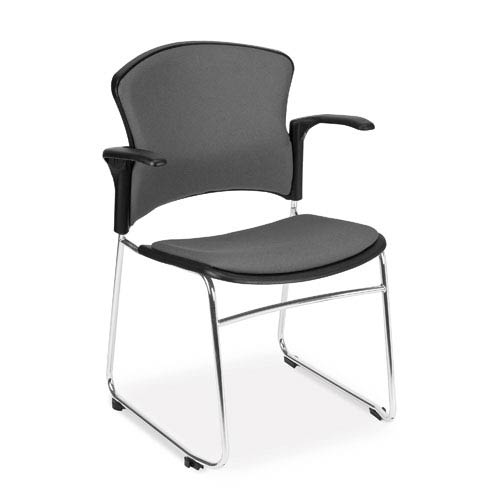 Gray Multi-Use Stacking Chair with Fabric Seat and Back with Arms