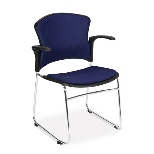 Navy Multi-Use Stacking Chair with Fabric Seat and Back with Arms