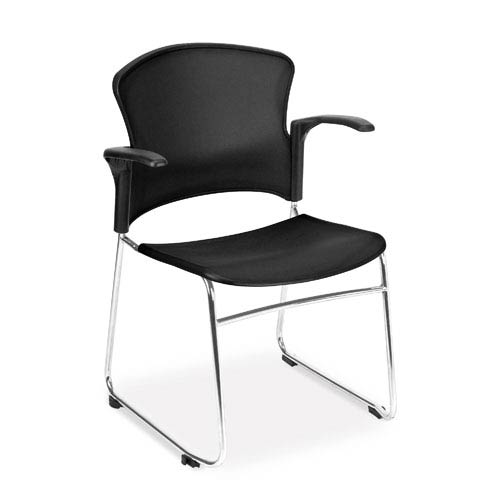 OFM Office Furniture Black Multi-Use Stacking Chair with Arms
