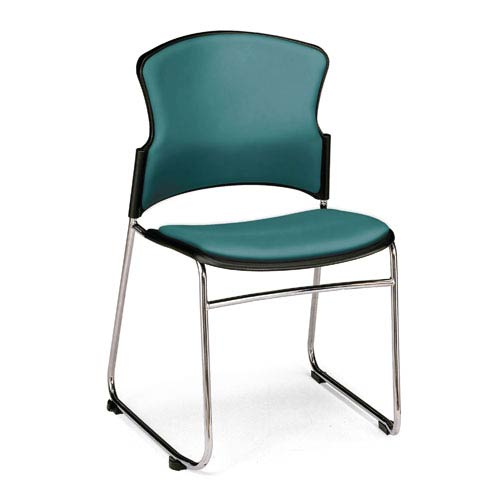 Teal Multi-Use Stacking Chair with Anti-Microbial Seat and Back