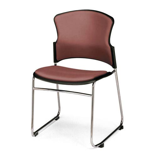 Wine Multi-Use Stacking Chair with Anti-Microbial Seat and Back