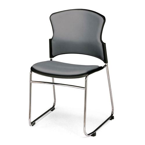 Charcoal Multi-Use Stacking Chair with Anti-Microbial Seat and Back