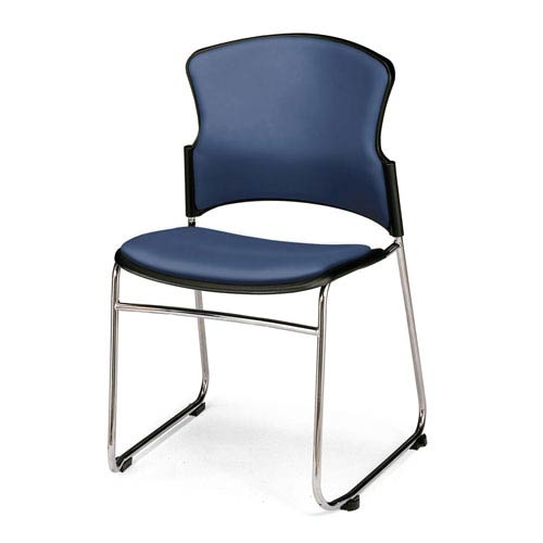 Navy Multi-Use Stacking Chair with Anti-Microbial Seat and Back