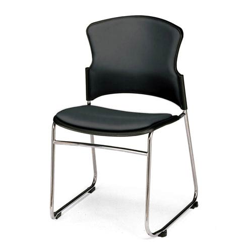 Black Multi-Use Stacking Chair with Anti-Microbial Seat and Back