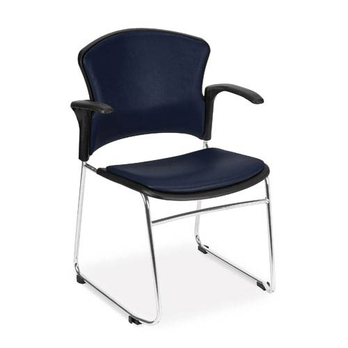 Navy Multi-Use Stacking Chair with Anti-Microbial Seat and Back with Arms