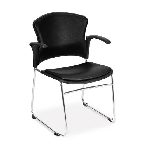 Black Multi-Use Stacking Chair with Anti-Microbial Seat and Back with Arms