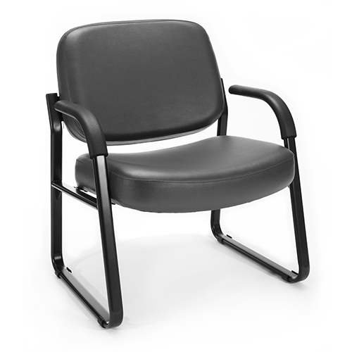 OFM Office Furniture Charcoal Vinyl Big and Tall Guest/Reception Chair