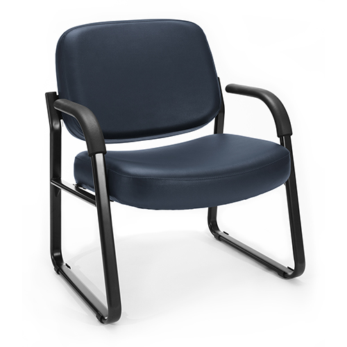 Navy Vinyl Big and Tall Guest/Reception Chair