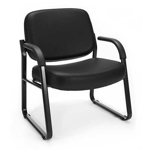 OFM Office Furniture Black Vinyl Big and Tall Guest/Reception Chair