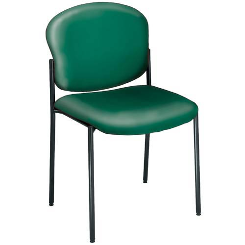 Vinyl Upholstered Teal Armless Stacking Chair