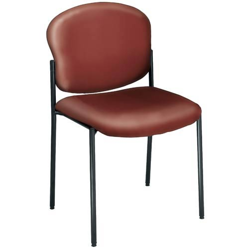 Vinyl Upholstered Wine Armless Stacking Chair