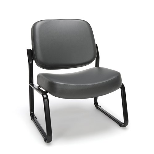 Charcoal Vinyl Armless Big and Tall Guest/Reception Chair