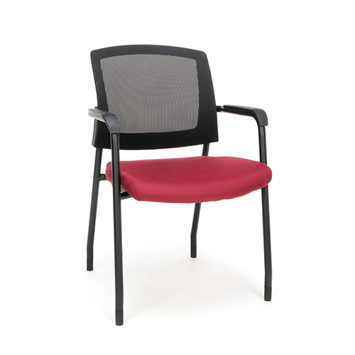 Wine Mesh Guest/Reception Chair with Arms