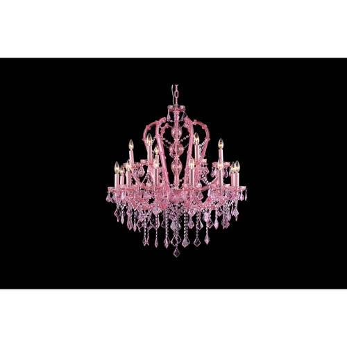 Sunset Pl. Pink Crystal 18-Light Chandelier