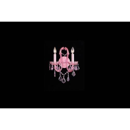 Sunset Pl. Pink Crystal Two-Light Wall Sconce