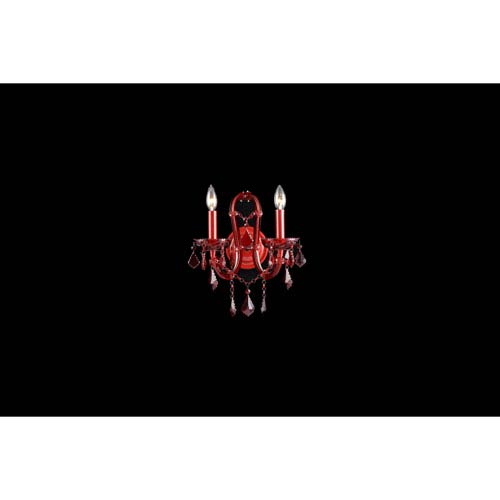 Crimson Blvd. Red Crystal Two-Light Wall Sconce
